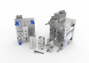 Das Werkzeug mit patentierter Schnellwechselmechanik kommt dem Trend zu einer zunehmenden Produktindividualisierung bei geringeren Stückzahlen nach. Die eingesetzte Heißkanaltechnik mit elektrischem Antrieb stellt eine große Genauigkeit bei der Reproduktion sicher. (Bildquelle: Braunform)