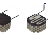 3D-gedruckter Multi-Material-Leichtbaudemonstrator aus kohlenstofffaserverstärktem thermochromen Kunststoff und Titan-Grundstruktur (links) und Darstellung des thermochromen Verhaltens, aktiviert durch elektrisch induzierte Wärme in der Kohlenstofffaser (rechts) (Bildquelle:  TUD/ILK)
