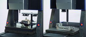 Das kompakte Messgerät ermöglicht Multisensor-Messungen ohne Messbereichseinschränkungen (links). Mit dem Durchlichtkonzept können schwere Werkstücke direkt auf dem Messtisch gemessen werden (rechts). (Bildquelle:  Werth)