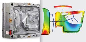 Ein für Kundenversuche verfügbares Familienwerkzeug zur Herstellung von drei sehr unterschiedlich großen Elementen eines Kfz-Türmoduls in einem Schuss. (Bildquelle: HRS Flow)