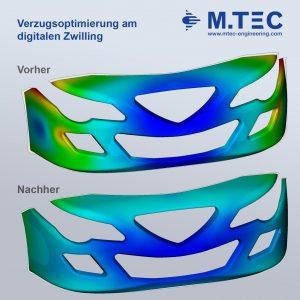 Verzugsoptimierung am digitalen Zwilling am Beispiel einer Frontschürze (Bildquelle: M.TEC)
