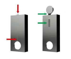 Während beim konventionell spritzgegossenen Gehäuseteil (links) eine unschöne Bindenaht sichtbar bleibt und die dünnwandige Passage gerissen ist, zeigt das mit dem System gefertigte Gehäuse (rechts) eine makellose Oberfläche. (Bildquelle: Hotset)