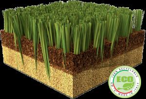 "Recyclebarer Kunstrasen ""Made Green in Italy"" (Bildquelle: Safitex)"