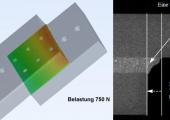 Mittels in-situ CT ermittelte Deformation einer Klebeschicht unter Last. (Bildquelle: SKZ)