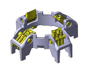 Voll bewegliche Teile direkt aus dem Werkzeug: Der Rastkäfig für die Flaschenkopfaufnahme wird im Montagespritzgussverfahren hergestellt. Er besteht aus Polyamid mit 30 Prozent Glaskugelfüllstoff.
