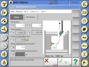 Aufgrund vorangegangener automatischer Messungen setzt der Roboter vor Erreichen der Entnahmeposition das Auswerfersignal, um bei Erreichen der Entnahmeposition die Teile zu übernehmen, ohne auf die Auswerfer warten zu müssen. (Bildquelle: Wittmann)