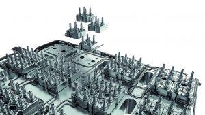 Heißkanal Mikroverteiler für ein hochfachiges Werkzeug. (Bildquelle: Ewikon)