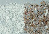 Durch den Einsatz des Inspektions- und Sortiersystems wird die Materialqualität bis zu 100 Prozent verbessert − links: sauberstes Material nach der Sortierung, rechts: kontaminiertes Material vor der Sortierung. (Bildquelle: …..)