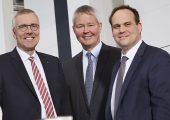 Der neue Vorstand ab April 2019: Dr. Jürgen Vutz, CEO, Peter Steinbeck, CSO, und Dr. Falco Paepenmüller, CTO (Bildquelle: Windmöller und Hölscher)