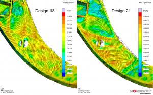 Die Faserorientierung verändert sich mit der Position des Anspritzpunktes. (Bildquelle: Sigmasoft)