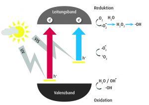 Sichtbares und ultraviolettes Licht regt in Metalloxidschichten Elektronen an, die vom Valenz- in das Leitungsband gehoben werden. In feuchter Umgebung werden Hydroxylradikale gebildet. (Bildquelle: Plasmatreat)
