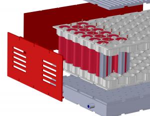 Kühlkonzept für ein Batteriemodul mit Heat Pipes und Cooling Plate aus Makrolon® TC. Die Heat Pipes ransportieren die Wärme aus den Zellen zur Cooling Plate. (Bildquelle: Covestro)