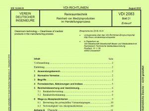 """Die Richtlinie VDI 2083 Blatt 21 """"Reinheit von Medizinprodukten im Herstellungsprozess"""" ist seit Mitte 2018 als Gründruck erhältlich. (Bildquelle: VDI)"""