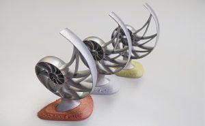Bre3D-Award: Die von Materialise gestalteten und gedruckten Trophäen. (Bildquelle: Materialise)
