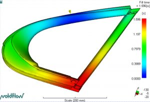 Moldflow-Simulation eines Dichtrahmen. (Bildquelle: Teknor Apex)