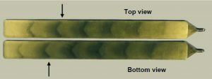 Tigerstreifen, die auf der Ober- und Unterseite des Musterteils zu erkennen sind. (Bildquelle: Teknor Apex)