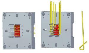 Rückansicht der Auswerferseite: horizontale Variante (links), vertikale Variante (Mitte), beispielhafte gebogene Heatpipe aus vertikaler Variante (rechts).