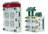 Kompakte 64-fach Heiße Seite mit Mikro-Verteiler (links) und 4-fach Coolshot Kaltkanalsystem. (Bildquelle: Ewikon)