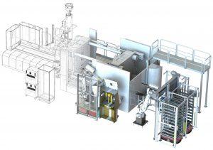 3D-Lauyout der an den fünf Spritzgießmaschinen installierten Automatisierungszelle. (Bildquelle: SAR)