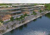 Mit Blick auf das Düsseldorfer Hafenbecken erstreckt sich die C-View Offices. (Bildquelle: www.c-view-offices.de)