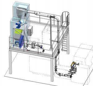 Die Wiederaufbereitung von Espressokapseln aus dem Thermoforming wird mit einer kompletten Systemlösung aus Absaugeinheit, Sammeltrichter, Schneidmühle und Rohrleitung realisiert. (Bildquelle: Getecha)