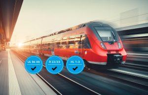 Die TPE-Produktreihe erfüllt zusätzlich zur UL 94 V0 die DIN EN 45545-2 für Bahnanwendungen. (Bildquelle: Kraiburg)