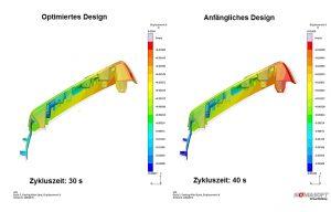 Der Anwender ermittelte die kürzeste Zykluszeit für eine Anwendung, während gleichzeitig die Formbeständigkeit verbessert wurde. Dargestellt ist die Bauteilverformung im verbesserten (links) und im anfänglichen Design (rechts). (Bildquelle: Sigma)