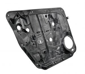 Türmodulträger mit integriertem Organoblech als Leichtbaulösung in Türsystemen für den Ford Focus. (Bildquelle: Elringklinger)