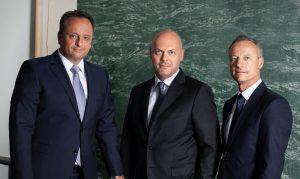 Geschäftsführung von Meraxis (v.l.n.r.): Dr. Stefan Girschik, Philipp Endres, Marco Zahnd. (Bildquelle: Meraxis Group)
