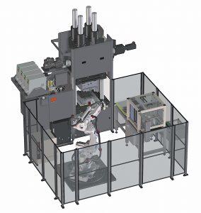 Produktionszelle auf Basis einer hydraulischen Vertikalmaschine mit automatisierter Formteilentnahme und Weiterbearbeitungseinrichtungen. (Bildquelle: Maplan)