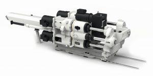 Das neue Konzept für große, elektrische Einspritzeinheiten: 4 Spindeln + 4 Motoren (Bildquelle: Haitian)