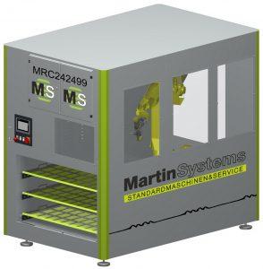 Die Fertigungszelle ermöglicht ein deutliches flexibleres Teilehandling für unterschiedliche Bearbeitungszentren. (Bildquelle: Martin Systems)