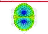 Das Bild zeigt die Temperaturverteilung im Bauteil während des Einspritzvorgangs auf einem interaktiven 3D Modell, hier bei 74 Prozent gefüllt. (Bildquelle: Sigma)