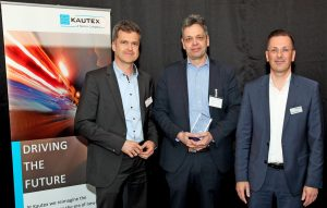 Carsten Elsasser, Director Innovation & Strategy, Kautex, Dr. Marcus Stojek, Managing Director, Part Engineering, Sylvain Genesi, Vice President Global Supply Chain, Kautex (von links) bei der Preisverleihung. (Bildquelle: Part)