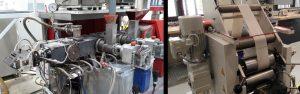 Links: Extruder mit Düsenwerkzeug zur Extrusion des Belages. Rechts: extrudierter Skibelag auf Walzenabzug. (Bildquelle: TU Chemnitz)