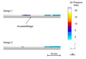 Luftdruck bei 78 % Leiterbahnfüllung von Design 1 und 2 (Einleger 1 und 2) (Bildquelle: IKV)