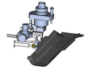 Das CAD-Modell zeigt Versiegelungsaggregat und Demonstratorbauteil. (Bildquelle: Fraunhofer IPA)