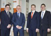 (v.l.n.r) Nicolai Küls, Helmut Gries, Dr. Michael Zaun (alle GWK) und Hendirk Niestert (Mitglied des Vorstands Technotrans) (Bildquelle: GWK)