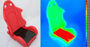 Sitzfläche mit PTC-Heizfolie, Wärmebildaufnahme des Sitzes. (Bildquelle: TITK)