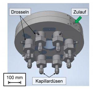 2³-Vorverteiler mit Einzelstiftdrosseln und Kapillardüsen (Bildquelle: IKV)