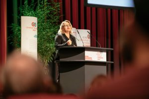 Bundesumweltministerin Svenja Schulze bei Ihrem Grußwort zum Internationalen Cradle to Cradle Congress in Berlin (Bildquelle: C2C NGO)