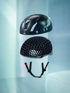 Individualisierter, additiv gefertigter Fahrradhelm (Bildquelle: HEXR)