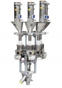 Dosier- und Mischsystem mit Fördergeräten: Hier ein modularer Aufbau, der typisch für Folienanwendungen ist. (Bildquelle: Motan-Colortronic)