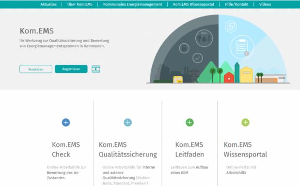 Interaktives Portal Kom.EMS für das Energiemanagement von Kommunen. (Bildquelle: Kom.EMS)