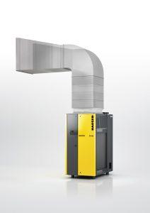 Aufgrund eines neuen, frequenzgeregelten Radiallüfters kann der Kältetrockner direkt an den Abluftkanal angeschlossen werden. (Bildquelle: Kaeser)