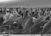 Membranmorphologie mit extrem dünner Schaumschicht, aber zugleich sehr hohem Materialtransport. Die offenen Kavernen ermöglichen einen konvektiven Transport bis zur Grenzschicht.  Der Stofftransport wird auf Kosten der mechanischen Stabilität erhöht. (Bildquelle: Fraunhofer IAP)