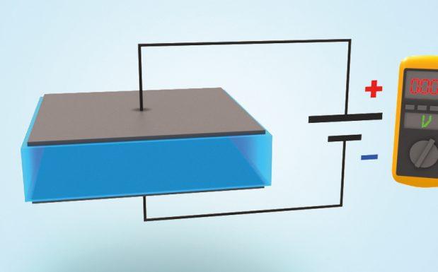 Grafik 1: An das Laminat, bestehend aus mindestens einer hauchdünnen Folie und mindestens zwei Elektroden, wird eine Spannungsquelle angelegt, damit es als Aktuator fungieren kann.