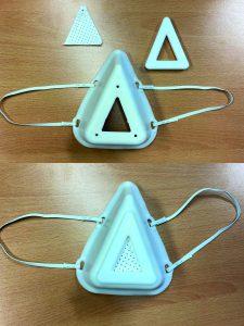 Maskensystem mit modularem Aufbau aus reinigungsfähiger Halbmaske und austauschbarem Filtermedium. (Bildquelle: Bas)