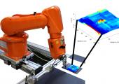 Automatisierte Wirbelstromprüfung eines Faserverbundkunststoffs mit innenliegender Delamination, die im Prüfergebnis farblich kodiert visualisiert werden konnte. (Bildquelle: SKZ)