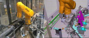 Abbildung 4: Bild eines realen Beladehandlings (l.) und des entsprechenden digitalen Maschinenmodells (r.)